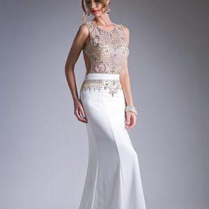 Beaded Bodice Sateen Sheath Prom Dress CDCJ232